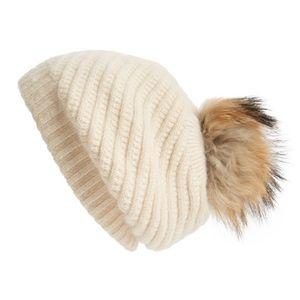 LINDA RICHARDS***Slouchy Hat w/Genuine Fur Pom Pom